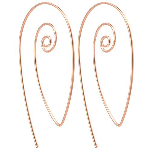 OUFER 18Gauge Rose Gold Round Circle Spiral Hoop Earrings Swirl Hoop Earrings Jewelry 1mm