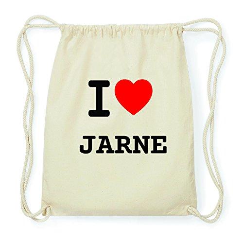 JOllify JARNE Hipster Turnbeutel Tasche Rucksack aus Baumwolle - Farbe: natur Design: I love- Ich liebe