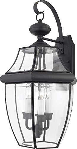 (Quoizel NY8318K Newbury Outdoor Wall Lantern Wall Mount Lighting, 3-Light, 180 Watts, Mystic Black (23