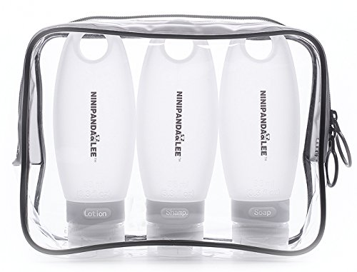 NINIPANDA&LEE Leakproof Travel Bottles,Refillable Silicone Travel Size Containers 3.3 Oz TSA Approved Squeezable Travel Tube Sets for Shampoo Toiletries Lotion Soap, with a Clear Cosmetic Bag by NINIPANDA&LEE