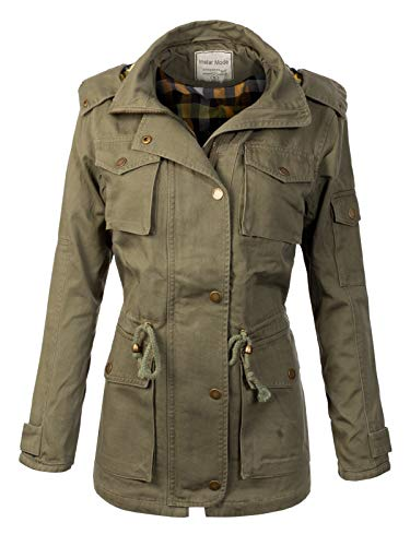 Instar Mode Women's Anorak Safari Jacket with contrasting flannel lining Hood Olive L