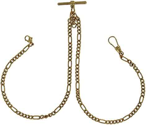 Pocket Watch Figaro Chain Mens Antiqued Gold Tone Double Albert Fob 9