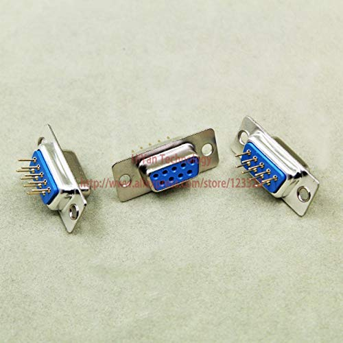 (Davitu (10pcs/lot) RS232 Parallel Serial Port DP9 DB9 9 Pin D Sub Female PCB Type Connector DB9 Socket Plug COM Adapter)