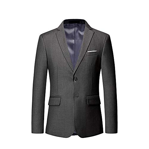 UNINUKOO Mens Casual Two Button Single Breasted Suit Jacket Modern Wedding Tux Blazer US Size 31 (Label Size M) Grey