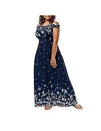 LOadSEcr - Vestido para Mujer, Talla Grande, Estampado Floral, Hombros Descubiertos, Cintura Alta, elástico