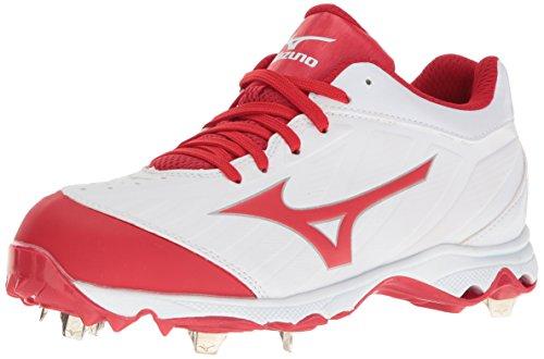 Mizuno Women's 9-Spike Advanced Sweep 3 Softball Shoe, White-Red, 8.5 D US