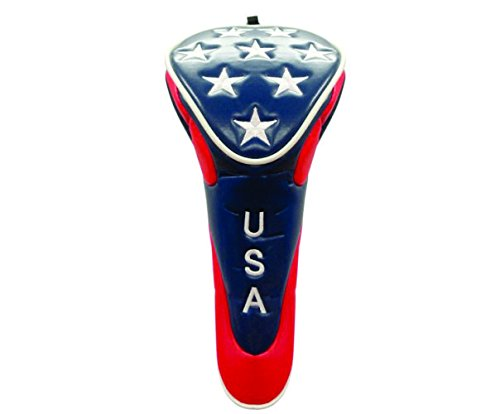 (Driver) - USA Golf Head Cover with Stars (Zipper Closure) - Available in Driver, Fairway and Hybrid (each sold separately) B01N9OX0H5