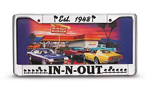 IN-N-OUT Burger Authentic License Plate Frame with Free Bonus (Black) (Best Burger In N Out)
