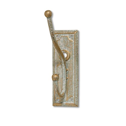 Antique Brass Distressed Finish - WHW Whole House Worlds Summer Cottage Wall Hook, Rectangle Back Plate, Shabby Distressed Finish, Classic American Style, Durable Brass Colored Iron with Patina, 7 Inches Tall