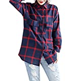 Liraly Womens Tops Clearance New Fashion Women Autumn Shirt Long Sleeve Cotton Linen Plaid Printed T shirt Blouse Tops Sweater (US-10 /CN-XL,Blue )