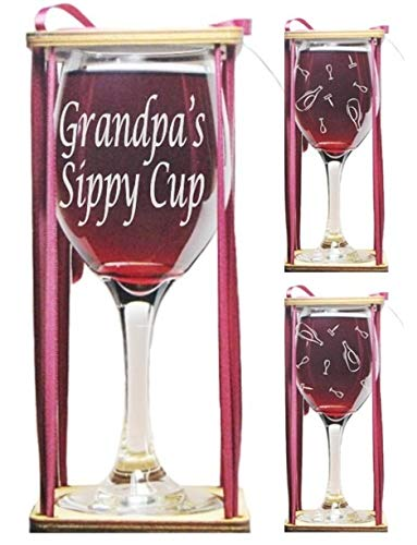 Grandpa's Sippy Cup Stemmed Wine Glass with Charm and Presentation Packaging