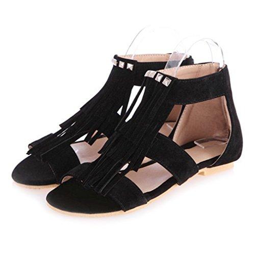 - CYBLING Womens Suede Tassels Flat Sandals Open Toe Fringe Shoes Black