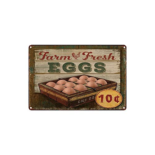 - ERLOOD Farm Fresh Eggs Metal Tin Sign Decor Art Chicken Coop Kitchen Cottage Farm 12 x 8