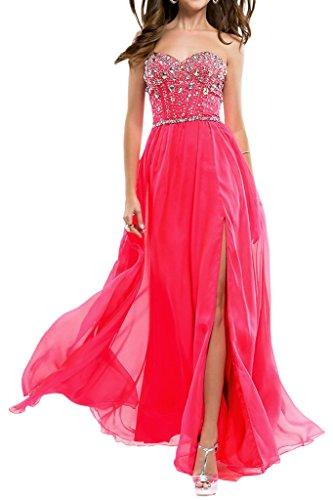 Linie Schlitz Abendkleid Damen Ballkleider Wassermelone Ivydressing Promkleid Lang Chiffon Festkleid A 5tqWwW4H