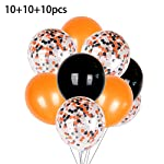 "Hardli 30pcs Halloween Balloon Set - 12"" 10 Large Clear Filled Confetti Balloons -10"" 10 Orange & 10 Black Solid Balloons - Wedding Reception Birthday Party Decorations"