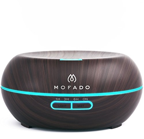 Price comparison product image Essential Oil Diffuser - Ultrasonic Aromatherapy Humidifier - Bonus Essential Oil eBook - Auto Shut Off - Dark Faux Wood - 7 LED Mood Lights