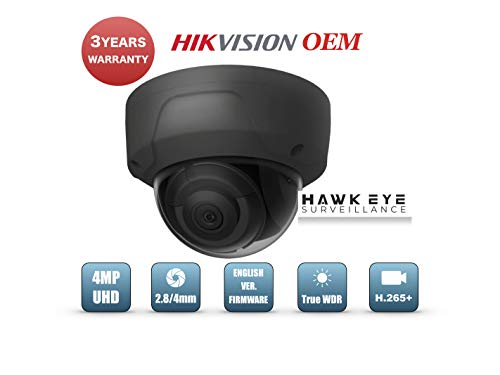 4MP PoE Security IP Camera - Compatible with Hikvision Performance Series DS-2CD2145FWD-I Black Mini Dome EXIR Night Vision 2.8mm Fixed Lens H.265+ 3 Year -