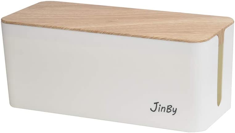 Wooden Print JinBy Cable Management Box for Desk Cable Management and Power Strip Box Solutions