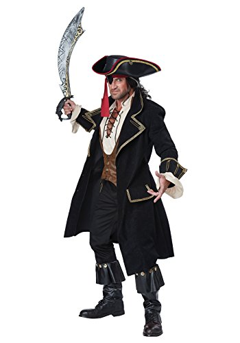 Men's Pirate Captain Costumes (California Costumes Men's Deluxe Pirate Captain, Multi, X-Large)