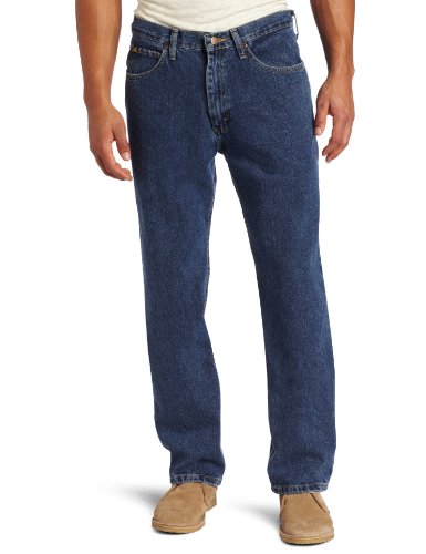 Lee Men's Relaxed Fit Straight Leg Jean, Medium Stone, 36W x 32L (Mens 32' Inseam Jeans)