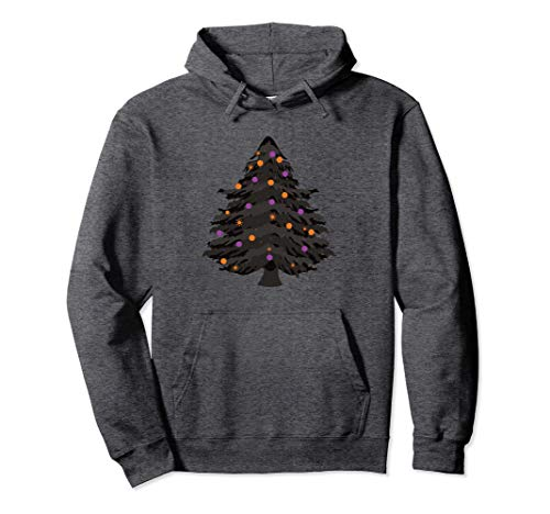 Black Halloween Tree with Purple and Orange Ornaments Pullover Hoodie
