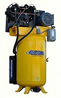 EMAX Compressor ESP07V080V1 Industrial Plus 7.5 hp 1 PH gallon Vertical Air Compressor with Silencer, Large, Yellow by Emax Compressor