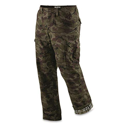 Guide Gear Men's Flannel Lined Cargo Pants, Woodland Camo, W42 L34