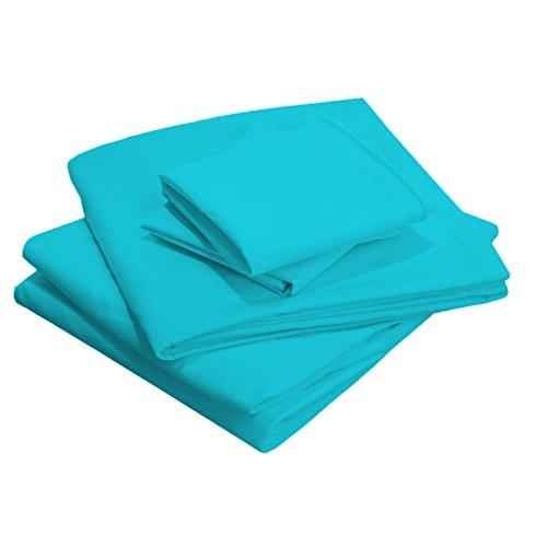 Scala Bedding de 23 pouces Sac de profondeur, 100% coton égypcravaten 400 fils California Parure de King Taille, turquoise