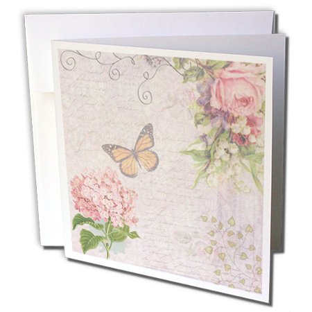 InspirationzStore Vintage Art - Vintage Flowers handwriting and butterfly - pretty summer garden girly collage - swirls and leaves - 12 Greeting Cards with envelopes (gc_76596_2)
