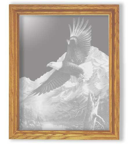 Decorative Framed Mirror Wall Decor With Eagle Etched Mirror - Eagle Decor - Unique Eagle Gift Ideas - Ready To Hang - 27'' w x 35'' h