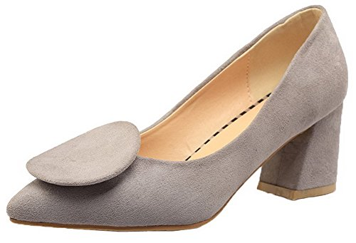 Shoes AmoonyFashion Womens Heels Gray Closed Kitten Imitated Suede Pumps Toe Solid qqgwzU