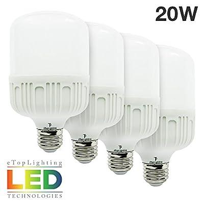 eTopLighting [4-Pack] Brilliantly-Bright 20W LED Light Bulb with Edison E26/E27 Base Utility Garage Shops, Outside Events, Mercury Free, Daylight White 6500K , APL1461