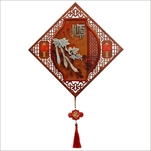 XHCP Jade Carving Chinese Decorative Painting Porch Painting Living Room Relief Painting Diamond - Shaped Jade Pendant Paintings Study (Color : D)