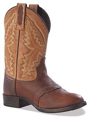 Old West Toddler-Boys' Ultra Flex Thunder Cowboy Boot Round Toe Brown 7 D(M) US Childrens Round Toe Boot