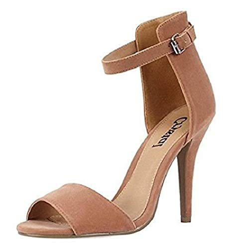 Open High Faux Suede Toe Back Nude 8 Strap Shoes 3 Heel Ladies Ankle Stiletto Sandals dtn8Iq