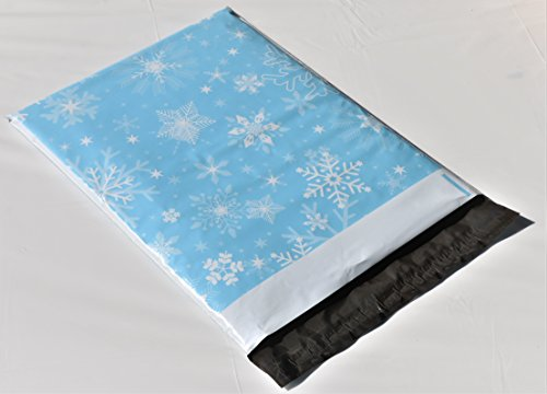 (10x13 (100) Snowflakes Winter Themed Designer Poly Mailers Shipping Envelopes Premium Holiday Printed Bags by Shipping Depot)