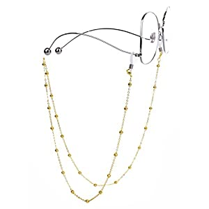 Mini Tree Necklace Eyeglass Chain Beaded Sunglasses Strap and Cords for Women (gold)