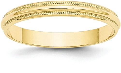 10k Yellow Gold 3mm Classic Plain Wedding Band with Milgrain Edge - Size 7.5 - Edge Milgrain Wedding Ring