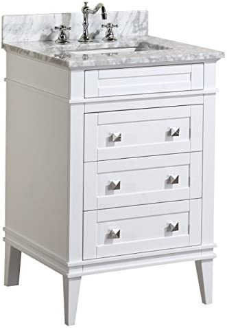 Eleanor 24-inch Bathroom Vanity Carrara White Includes a White Cabinet, Soft Close Drawers, a Natural Italian Carrara Marble Countertop, and a Ceramic Sink