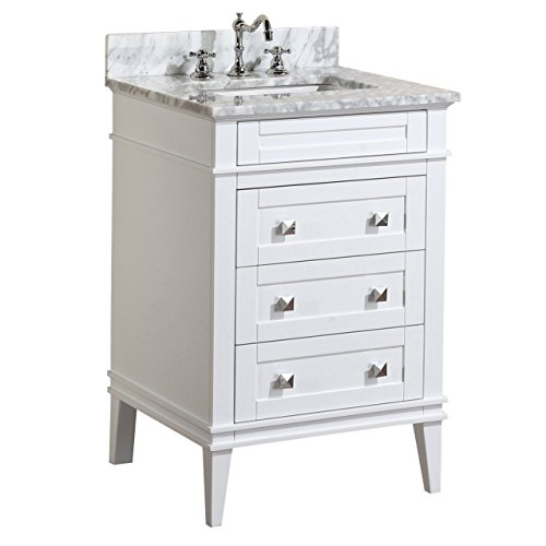 Kitchen Bath Collection KBC-L24WTCARR Eleanor Bathroom Vanity with Marble Countertop, Cabinet with Soft Close Function & Undermount Ceramic Sink, 24