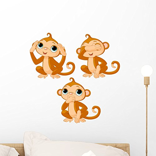 Monkeys Peel (Wallmonkeys FOT-29412555-18 WM231337 Three Little Monkeys Peel and Stick Wall Decals H x 18 in W, 18