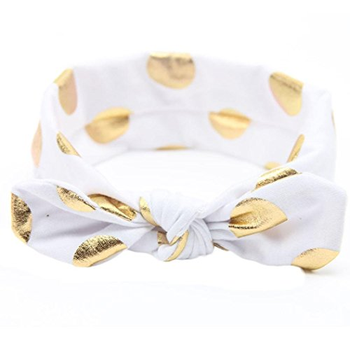 Baby Girls Gold Dots Bronzing Headband Cotton Turban Knotted Hair Bow Hairband JA60 (1# ()