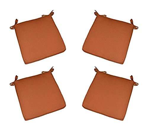 Resort Spa Home Decor Set of 4 - Indoor/Outdoor Solid Pottery/Clay/Rust/Burnt Orange Universal 2 Thick Foam Seat Cushions with Ties for Dining Patio Chairs - Choose Size