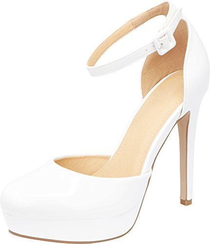 Buckled Platform Pumps - Cambridge Select Women's Closed Round Toe Buckled Ankle Strap Chunky Platform Stiletto High Heel Pump,8.5 B(M) US,White Patent PU