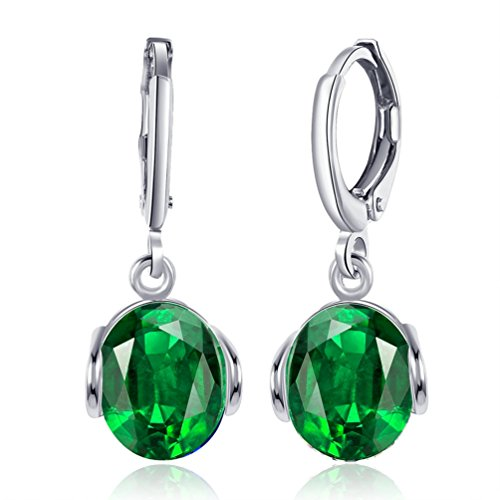 Huggie Green Earrings (FENDINA Fashion Jewelry Women's 18K White Gold Plated Simulated Green Emerald Huggie Dangle Earrings Imitation CZ Diamond Earrings)