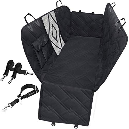 URPOWER Upgraded Dog Seat Covers with Mesh Visual Window 100% Waterproof Dog Car Seat Cover Nonslip Pet Seat Cover for Back Seat with Storage Pockets, Washable Dog Hammock for Cars Trucks and SUVs (Best Place For Car Seat In Backseat)
