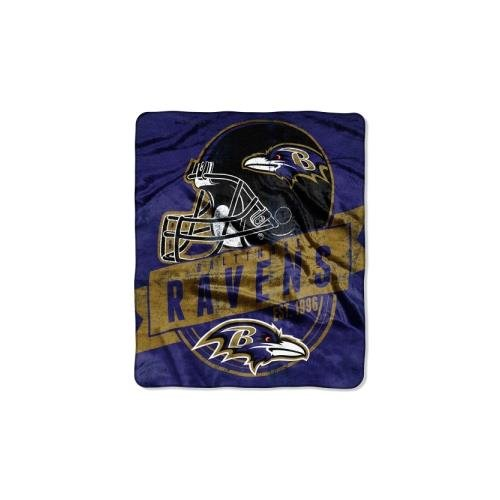 The Northwest Company Officially Licensed NFL Baltimore Ravens Grand Stand Plush Raschel Throw Blanket, 50