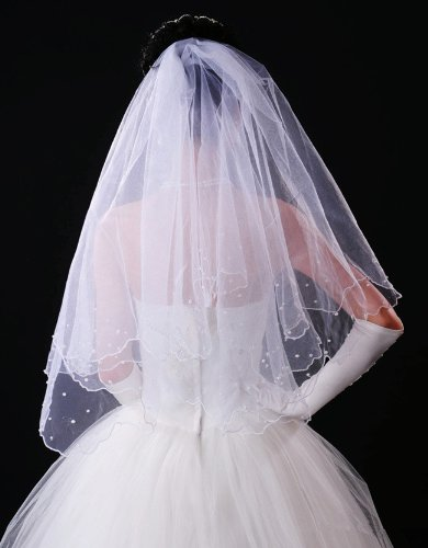 Promithi Womens Pearl Veil Crescent Edge Veil Bridal Veil Wedding Headdress