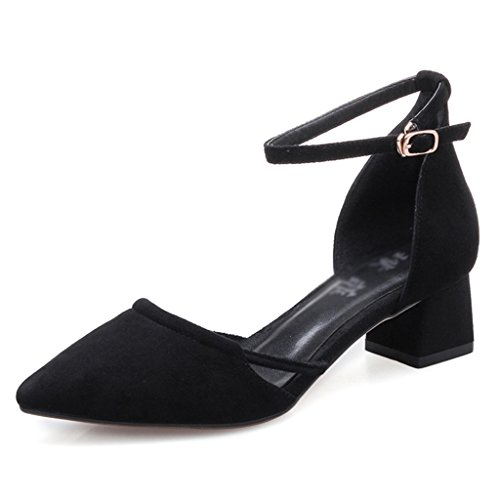 Grueso Zapatos ZCJB Negro 5cm Color Tamaño Grueso Zapatos Sandalias Medio Tacón 5 De Zapatos EU40 L UK6 De De Punta 24 Con Tacón r8IxB8wqZ
