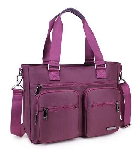 Crest Design Nylon Laptop Shoulder Bag Travel Work Clinic Nursing Tote (Mulberry)
